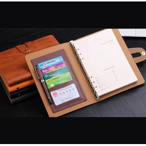PU Leather loose-leaf Notebook(A5)with pen and card holder