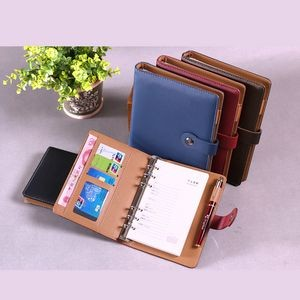 PU Leather loose-leaf Notebook(A5)with pen and card pockets